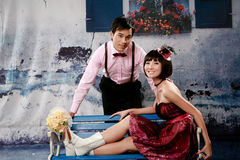Portrait of young happy couple in lovely action Royalty Free Stock Photo