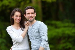 Portrait of a young happy couple in the nature Royalty Free Stock Photos