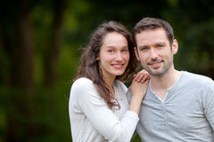 Portrait of a young happy couple in the nature Royalty Free Stock Photography