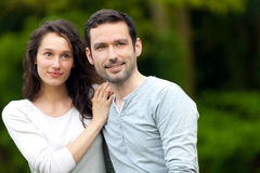 Portrait of a young happy couple in the nature Stock Photo