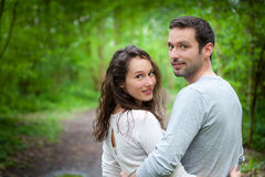Portrait of a young happy couple in the nature Stock Photography