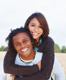 Portrait of a young happy couple outdoors Stock Photography
