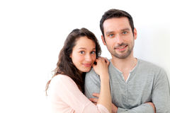 Portrait of a young happy couple on a white background Stock Photo