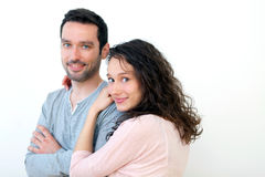 Portrait of a young happy couple on a white background Royalty Free Stock Photos