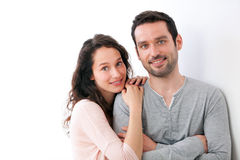 Portrait of a young happy couple on a white background Royalty Free Stock Photo