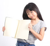 Portrait of young happy girl with book Royalty Free Stock Photography
