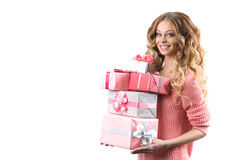 Portrait of a young happy girl with gift box in hands. Stock Images