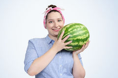Portrait young happy girl with watermelon Stock Image