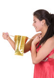 Portrait of young happy hispanic woman with Royalty Free Stock Image