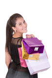 Portrait of young happy hispanic woman with Royalty Free Stock Photography