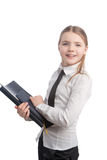 Portrait of young and happy little business girl Stock Images