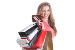 Portrait of a young and happy shopping lady Stock Photography