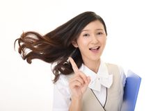 Happy young business woman. Portrait of young happy smiling business woman Royalty Free Stock Photo