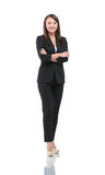 Portrait of young happy smiling businesswoman in suit isolated a. Young smiling businesswoman isolated on white stock photos