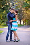 Portrait of young happy smiling cheerful attractive couple. Together, outdoors Royalty Free Stock Image