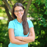 Portrait of young happy smiling cheerful woman in glasses Royalty Free Stock Photos