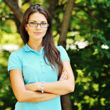 Portrait of young happy smiling cheerful woman in glasses Royalty Free Stock Images