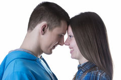 Profile portrait of young and happy couple in love Stock Images