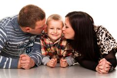 Portrait of a young happy smiling family Royalty Free Stock Images