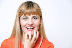Portrait of young happy smiling surprised business woman, isolat Stock Image