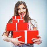 Portrait of young happy smiling woma red gift box  Royalty Free Stock Photography