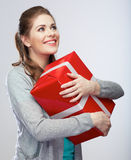 Portrait of young happy smiling woman hold gift box Stock Photo