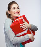 Portrait of young happy smiling woman hold gift box. Smiling gi Royalty Free Stock Images