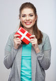 Portrait of young happy smiling woman hold gift box.Smiling gir Stock Image