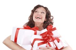 Portrait of young happy smiling woman hold  gift boxes Royalty Free Stock Photo