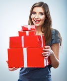 Portrait of young happy smiling woman hold red gift box. Isolat Royalty Free Stock Images