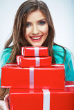 Portrait of young happy smiling woman hold red gift box. Isolat Stock Photo