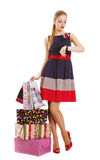 Portrait of young happy smiling woman with shopping bags Stock Photos