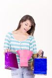 Portrait of young happy smiling woman with Stock Image