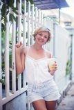 Portrait of young happy smiling woman teen girl - outdoor in n royalty free stock photos