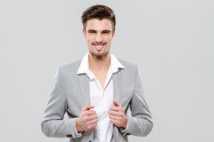 Portrait of young happy successful businessman Royalty Free Stock Images