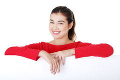 Portrait young happy woman with blank board Royalty Free Stock Photo