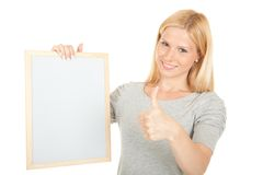 Portrait young happy woman with blank board Stock Photos