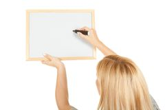 Portrait young happy woman with blank board Royalty Free Stock Photography