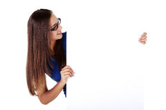 Portrait young happy woman with blank board Royalty Free Stock Photos
