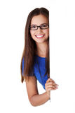 Portrait young happy woman with blank board Royalty Free Stock Images