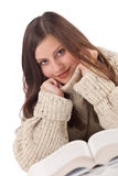 Portrait of young happy woman with book Royalty Free Stock Photos