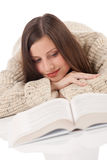 Portrait of young happy woman with book Royalty Free Stock Photo
