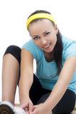 Portrait of young happy woman on fitness exercise Stock Image