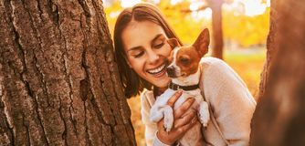 Portrait of young happy woman holding little cute dog Stock Images