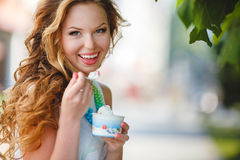 Portrait of a young happy woman in summer Stock Images