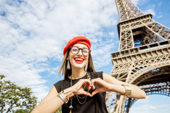 Tourist near the Eiffel tower royalty free stock photo