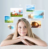 Portrait of young happy woman with travel vacation memories Royalty Free Stock Images