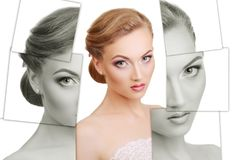 Portrait of young, healthy and beautiful woman plastic surgery, royalty free stock images