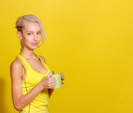 Portrait of young and healthy blonde with cup of tea Stock Photos