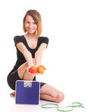Portrait young healthy woman dieting concept Royalty Free Stock Images